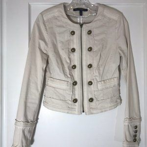 WHBM Cream Cropped Military Zip Front Jacket